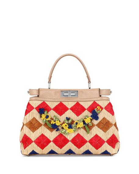 Peekaboo Medium Floral Raffia Satchel Bag, Natural/Multi