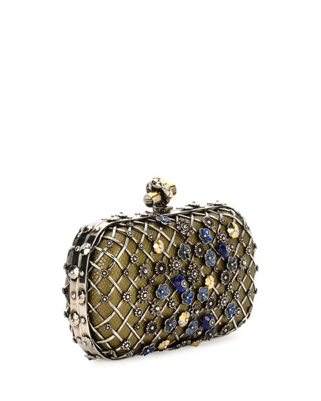 Metal Lattice Mini Knot Clutch Bag, Gray