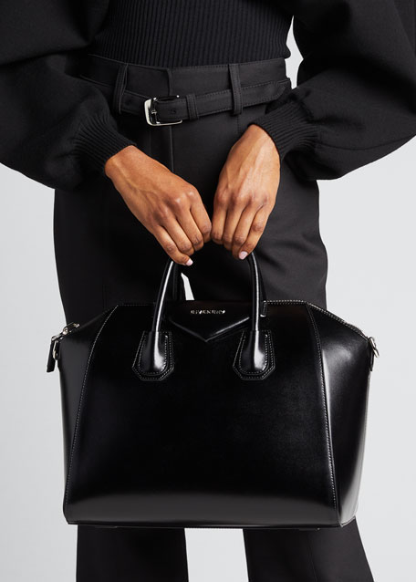 GIVENCHY Antigona Medium Box Calf Leather Satchel Bag, Medium Gray