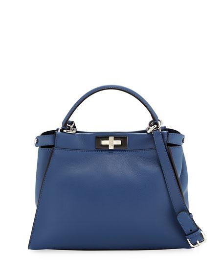 Fendi Peekaboo Medium Leather Satchel Bag, Blue