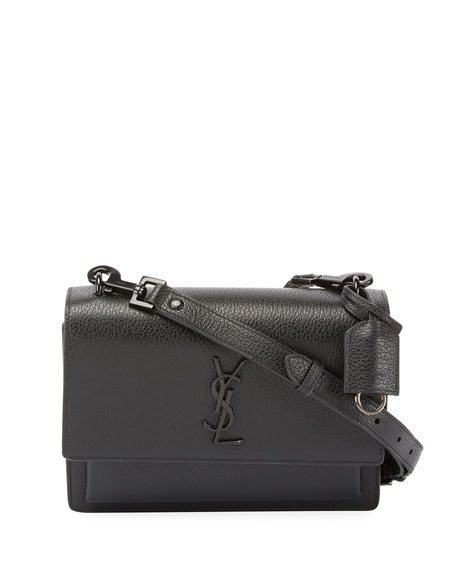Saint Laurent Monogram Sunset Medium Satchel Bag, Black