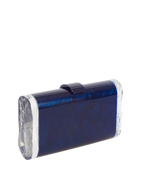 Lara Acrylic Ice Clutch Bag, Blue