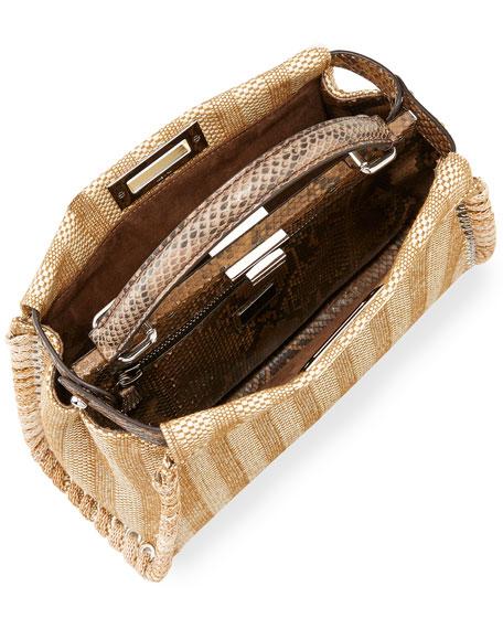 Peekaboo Medium Straw & Python Whipstitch Satchel Bag, Natural/Brown