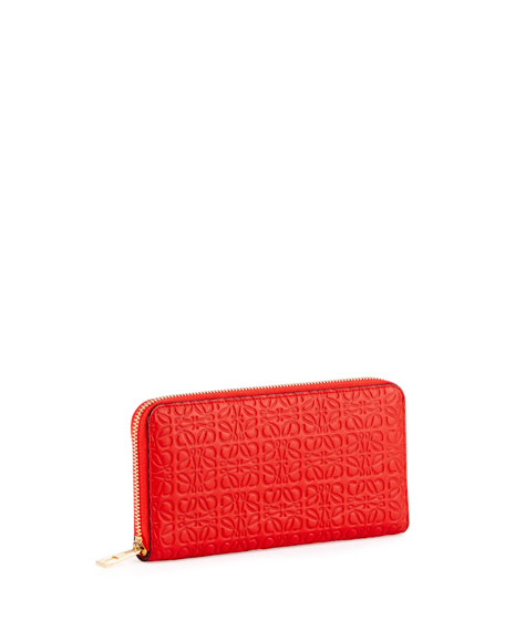 Embossed Zip-Around Wallet