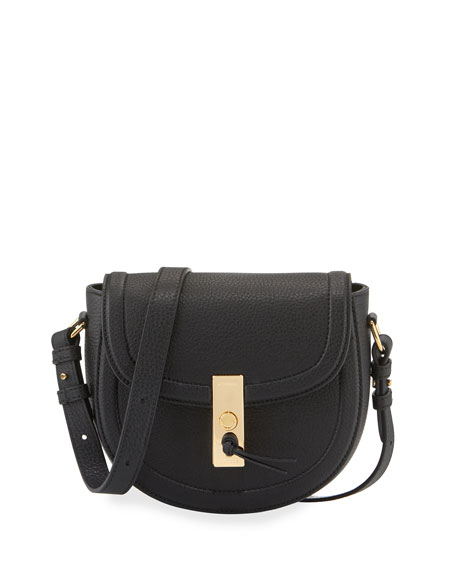 Altuzarra Ghianda Mini Woven Leather Saddle Bag, Black
