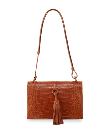 Tassel Medium Crocodile Shoulder Bag