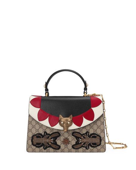 Gucci Linea E Canvas & Leather Top-Handle Bag
