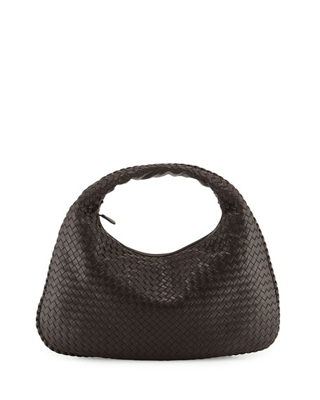 Bottega Veneta Intrecciato Woven Large Hobo Bag, Dark