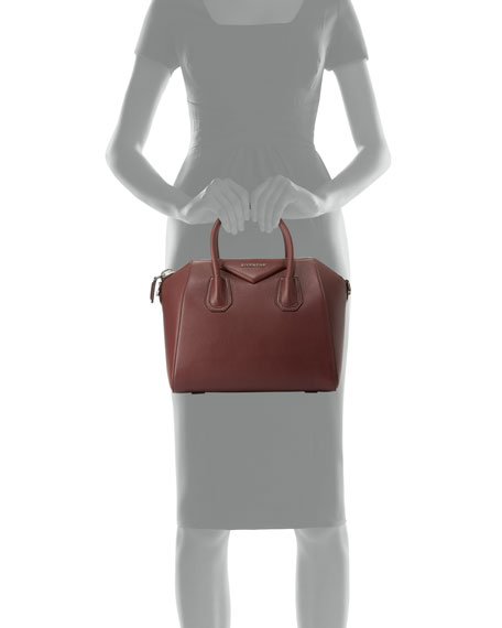 Antigona Small Sugar Goatskin Satchel Bag, Oxblood