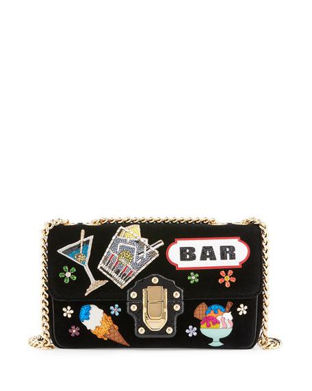 Lucia Patchwork Python & Velvet Shoulder Bag, Black Pattern