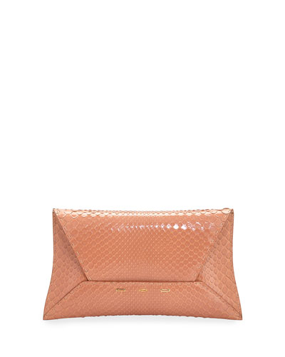 Manila Shiny Python Clutch Bag, Salmon