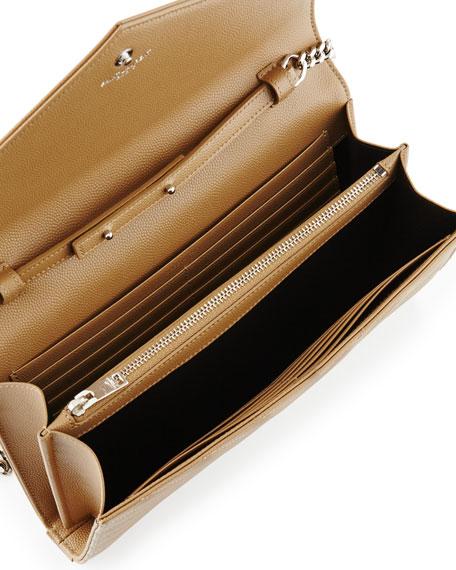 Monogram YSL Large V-Flap Grain de Poudre Calfskin Wallet on Chain