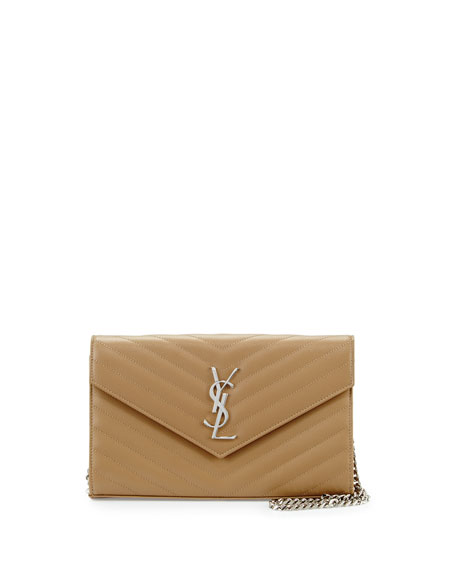 Grain de Poudre Calfskin Wallet-on-Chain, Beige