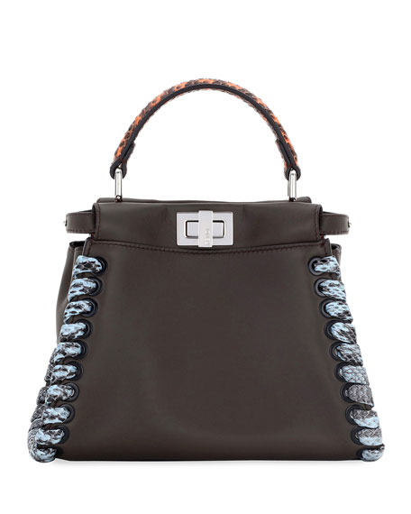 Fendi Peekaboo Medium Snakeskin Whipstitch Satchel Bag,