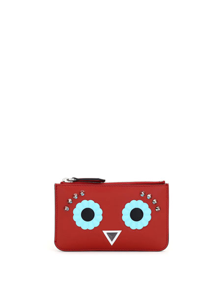 Fendi Faces Leather Key Pouch, Red/Multi