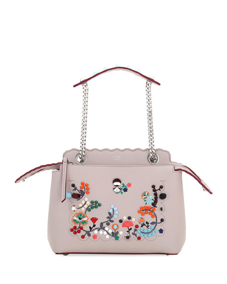 Fendi Dotcom Click Embroidered Shoulder Bag