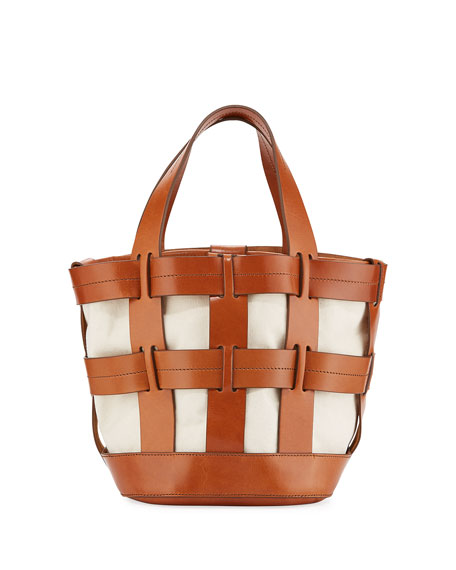 Cooper Caged Canvas Tote Bag, Brown
