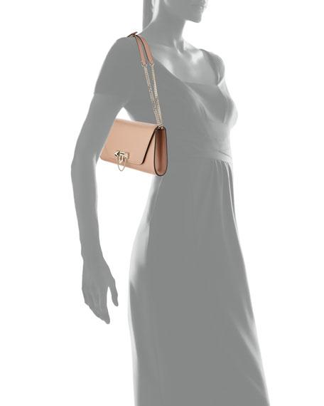 Demilune Leather Chain Clutch Bag