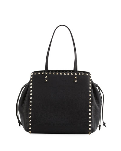 Rockstud Double Handle Tote Bag, Black