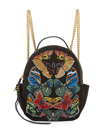 Butterfly Small Chain Backpack, Black/Multi