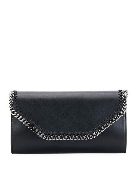 Falabella Eco Alter Faux-Leather Clutch Bag, Black
