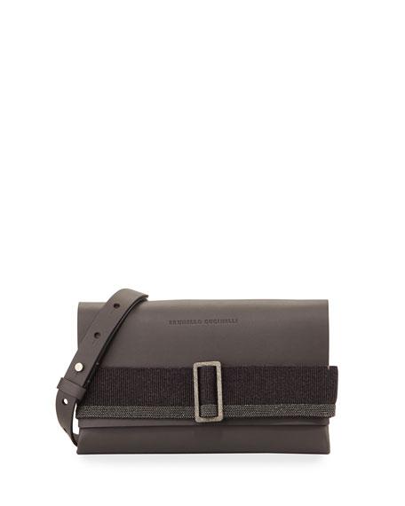 Brunello Cucinelli Buckled Leather Crossbody Bag, Medium Gray