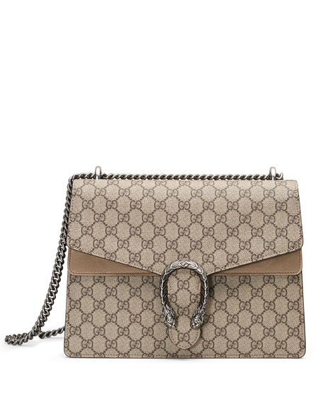 Dionysus GG Supreme Shoulder Bag, Ebony/Taupe