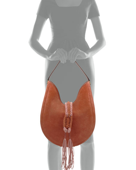 Ghianda Large Woven Suede Calfskin Hobo Bag