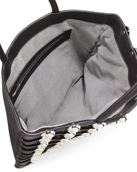 Dome Stud Cage Leather Shopper Tote Bag, Black