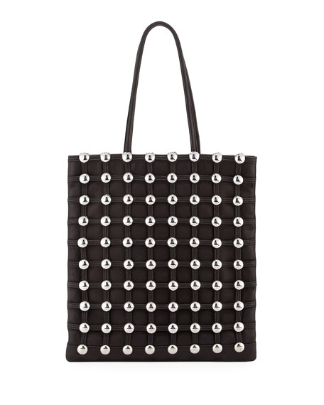 Dome Stud Cage Leather Shopper Tote Bag, Black