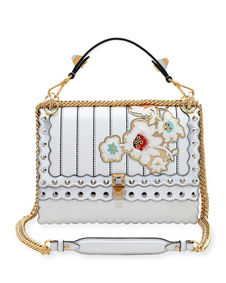 Kan I Mini Floral-Embroidered Chain Shoulder Bag, White/Silver