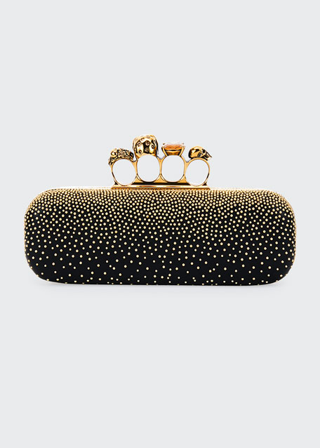 Knuckle Studded Leather Box Clutch Bag, Black