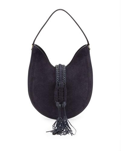Ghianda Small Suede Hobo Bag, Blue