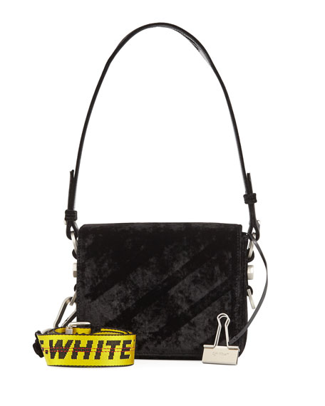 Diagonal Velvet Shoulder Bag, Black