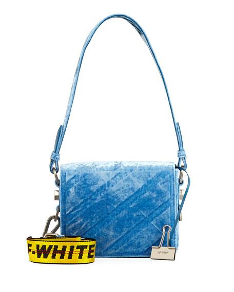 Diagonal Velvet Shoulder Bag, Light Blue