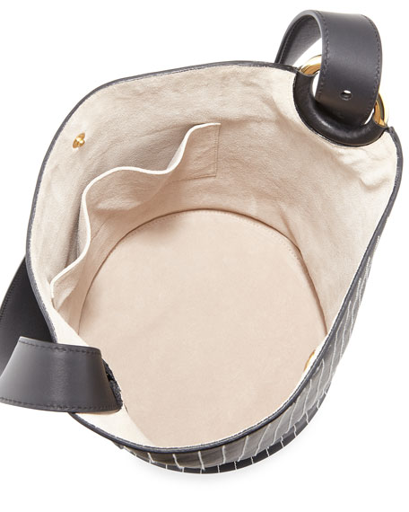Grove Stitched Leather Bucket Bag, Black