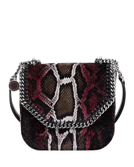 Stella McCartney Falabella Mini Python-Print Velvet Shoulder Bag,