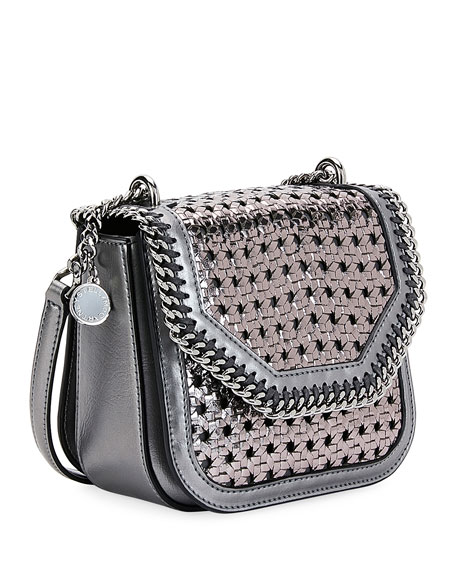 Metallic Wicker Mini Shoulder Falabella Box Bag, Gray