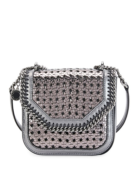 Metallic Wicker Mini Shoulder Falabella Box Bag, Gray