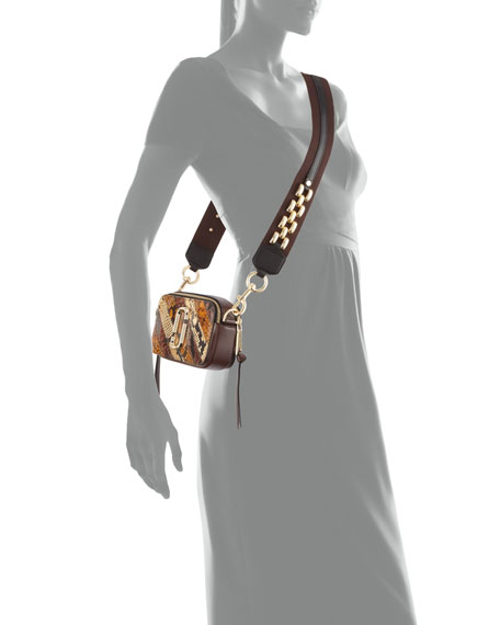 Chain Snapshot Snake-Print Crossbody Bag