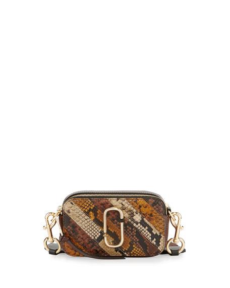 b5c36d491b18 Marc Jacobs Chain Snapshot Snake-Print Crossbody Bag