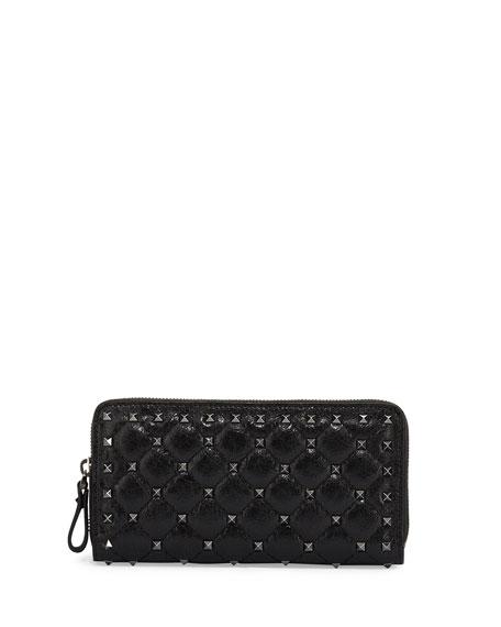 Rockstud Spike Quilted Zip Wallet, Black