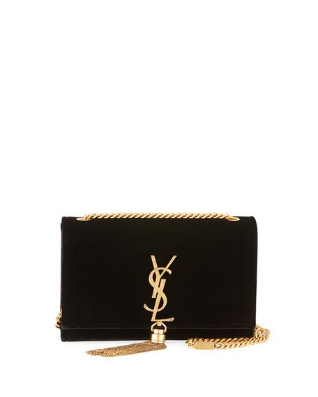 Saint Laurent Kate Small Monogram Velvet Tassel Bag