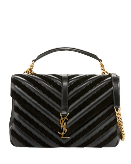 Saint Laurent Monogram College Large Quilted Top-Handle Bag