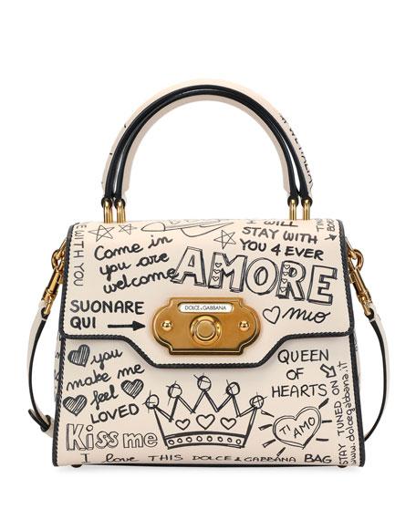 Welcome Amore Graffiti Medium Handbag, Beige