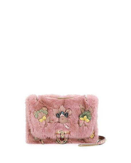Demilune Small Mink Fur Shoulder Bag, Pink