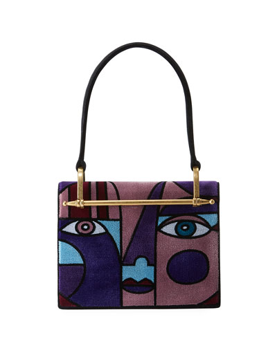 Cubist Velvet Shoulder Bag
