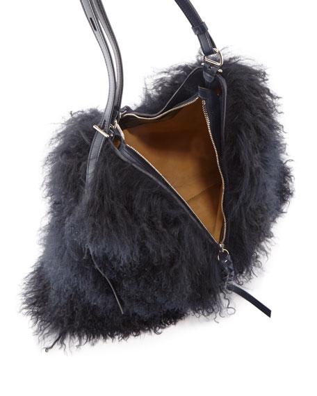 Large Lamb Shearling Fur Shoulder Bag
