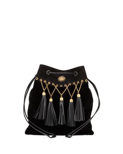 Velvet Tassel Chain Hobo Bag