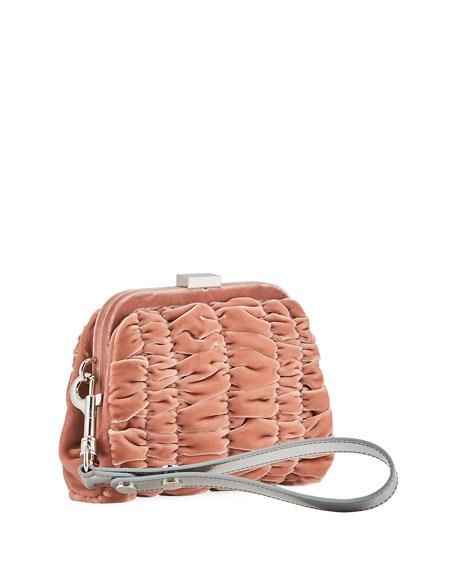 Quilted Velvet Clutch Bag w/Wristlet